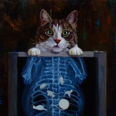"""""""Cat Scan"""" by Lucia Heffernan I Love Cats, Cool Cats, Funny Animals, Cute Animals, Gifs, Gif Animé, Animal Paintings, Cat Art, Dog Cat"""