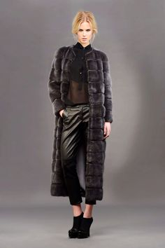 Dark Gray Dyed Mink Fur Coat