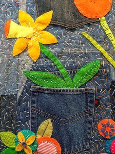 APPLIQUE.................PC...............Denim Garden quilt by Rachel Daisy | Blue Mountain Daisy