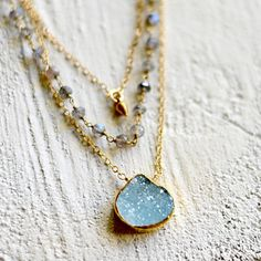 Aqua druzy layered necklace, labradorite necklace, triple strand necklace, mineral, kahili creations, made in Hawaiii - Wailana Organic