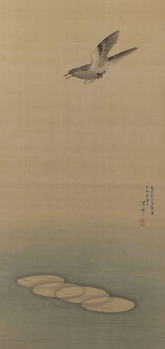 Bird flying over the Surf. Kuroda Seiki (1793-1864). Japanese Hanging Scroll Painting.