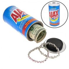 No one would think to look in a can of Ajax!  Keep your valuables safely stashed in the Ajax Safe.