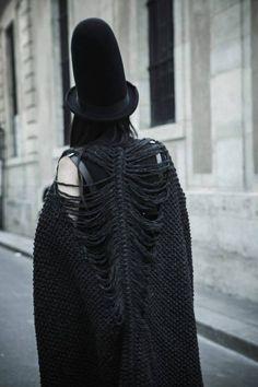 Lily Gatins wearing SKELETON cardigan by Knitted Lullaby.  Hat - Henrik Vibskov .Dress - Cunning Ton & Sanderson. Photos by Yana Mironova
