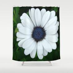 White African Daisy Tapestry Print Shower Curtain by Celeste - $68.00  #homedecor #blueandgreen