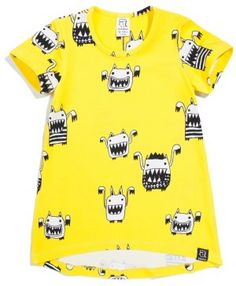 Kukukid Yellow Monsters Dress - available for international delivery from online kids store www.alittlebitofcheek.com.au
