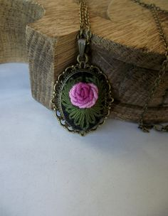 Pendant with hand embroidered rose (color III), gift for her, chistmas gift, gift for girl by ZoZulkaart on Etsy