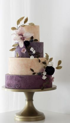 Rustic Purple and White Wedding Cake Featured Cake: Winifred Kristé Cake; Rustic chic purple and white wedding cake accented with a breathtaking floral design Purple Cakes, Purple Wedding Cakes, Amazing Wedding Cakes, Wedding Cake Rustic, Wedding Cakes With Flowers, Amazing Cakes, Wedding Vows, Floral Wedding, Wedding Dresses
