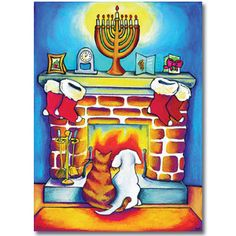 Fireplace - Mixed Blessing Interfaith Holiday Cards$14.50 per pack of 10. www.MixedBlessing.com #Hanukkah #Chrismukkah #Christmas