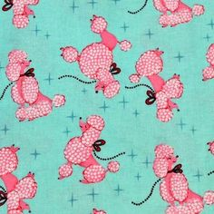 Michael Miller Fabric Pink French Poodle on Turquiose Cotton Print 1/2 Yard
