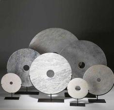 Group of white stone discs