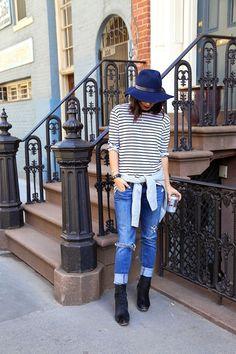 Shirt: Heidi Merrick; Jeans: Abercrombie (old); Boots: Celine; Hat: Rag & Bone; Sweater: Everlane; Necklaces: Jennifer Zeuner; Watch: …
