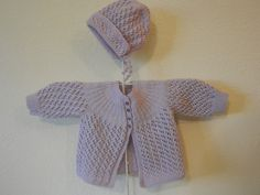 Baby Sweater with Matching Bonnet Hand Knit by Clickmaster on Etsy