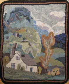hooked by Françoise Gagnon of Ile d'Orleans Quebec - From JUST Go Hook It - Rug Hooking: HOOKED RUG COUNTRY SCENE Love this color palette,