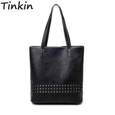 Tinkin PU кожаные женские сумки осень мешок большой Размеры Для женщин сумка Daily Винтаж Для женщин сумка причинно заклепки сумка