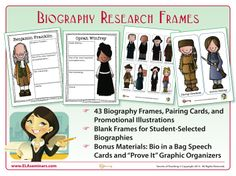 "Help students realize how fascinating research can be by giving them nonthreatening paragraph frames that make research projects easy to do and enjoyable to present. ""Research"" has been identified by the CCSS as one of the essential reading/writing skills needed for succeeding in college and in the workplace.  So why not take a skill that has the potential to be uninteresting and have some fun with it? (priced item)"