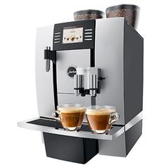 """TFT Screen, Unique 1 or 2 cups One-Touch-Cappuccino and Latte Macchiato System: """"Never move the cup""""; Makes Authentic Cappuccino & Latte Macchiato with the push of a button! Two ThermoBlock Systems, Height adjustable Coffee/Cappuccino spout, gall Jura Coffee Machine, Espresso Coffee Machine, Cappuccino Machine, Espresso Maker, Coffee Maker, Latte Machine, Cappuccino Maker, Cantilever Architecture, Architecture Design"""