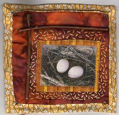 nest on art quilt #nest #quilt