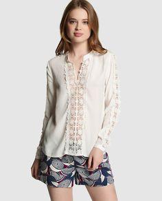 Blusa de mujer Naf Naf blanca con encaje