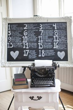 J. Scott Catering at Radnor Hunt- Love Me Do Photography- Seating Chart and Antique Typewriter with Letter From Bride and Groom to Guests.