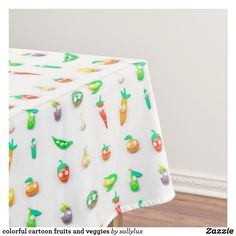 colorful cartoon fruits and veggies tablecloth