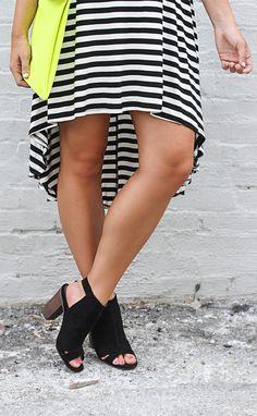 striped hi-low tee dress