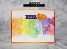 love this simple watercolor Halloween card from Tae Eun Yoo for The Ton stamps