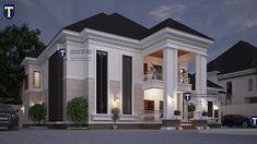 Architectural Design Of Five Bedroom Bungalow Plan In Nigeria Best Modern House Design, Classic House Design, Contemporary House Plans, Small House Design, Modern House Plans, Cool House Designs, 2 Storey House Design, Duplex House Plans, Bungalow House Design