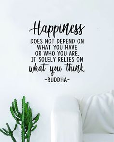 Buddha Happiness v3 Quote Decal Sticker Wall Vinyl Art Decor Bedroom Living Room Namaste Yoga Mandala Om Meditate Zen Lotus Inspirational Soul Love Peace - purple