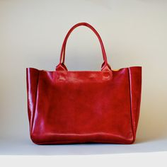 red leather tote.