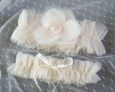 Cream Beige Nude Tulle Garter Set Ruffles Garter by ChihiroBridal