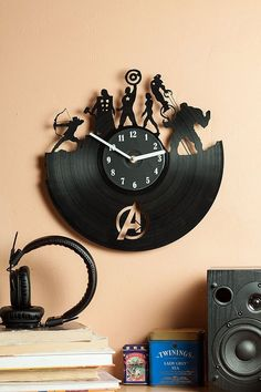 Avengers Vinyl Record Clock An Unusual Gift Musicians And Music Lovers Will Be Especially Surprised To Get It-Amazing Interior Decoration. Commitment To Environmental Protection - The Use Of Recycled Products. The Avengers, Thanos Avengers, Marvel Room, Marvel Fan, Captain Marvel, Marvel Wall Art, Vinyl Record Clock, Vinyl Records, Clock Wall