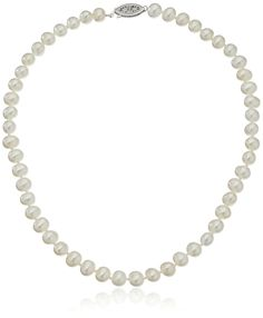 "Sterling Silver White Freshwater Cultured A Quality Pearl Necklace (7.5-8mm), 16"". Classic necklace featuring hand-knotted strand of freshwater cultured pearls secured by an elegant sterling silver fishhook clasp. The image may show slight differences in texture, color, size and shape. Slight imperfections are naturally formed during the pearl formation process and define the unique beauty of each pearl, and each may vary in size, number, and depth per pearl. Imported."