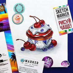 """Продолжая тему """"морозных"""" десертов маркерами  @sketchmarkersclub от @art_markers"""