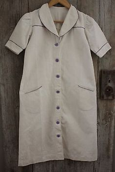 Vintage Linen French Work Uniform Medical Nurse's Dress White Linen | eBay