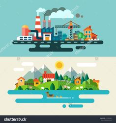 stock-vector-urban-and-village-landscape-ecology-environmental-protection-production-factory-plant-217082467.jpg (1500×1600)