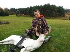 11-year-old hunter bags rare albino deer,congrats to him.