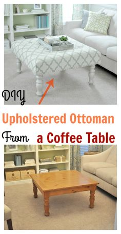 DIY Upholstered Ottoman From a Coffee Table