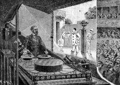 Emile Reynaud montre les débuts du cinéma d'animation, avec le théâtre optique, qui consistait à éclairer des images renvoyées dans un petit écran par des jeux de miroirs.