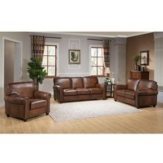 Relax in comfort and style with this ultra-premium top grain leather sofa, loveseat and chair set. This luxurious leather living room furniture is handcrafted using the finest quality materials to create exquisite leather furniture.