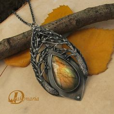 Laurelindorenan by Drakonaria - Fine silver, sterling silver and labradorite. Oxidized and polished. Inspired by J.R.R. Tolkien's prose.