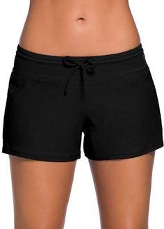 Solid Black Charmleaks Woman Board Swimwear Shorts