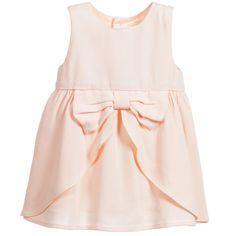 Baby Girls Pale Pink Viscose Crêpe Dress, Carrément Beau, Girl