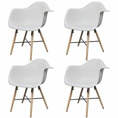 4 Pcs Mid Century Dining Arm Chair White Molded Plastic Seat W/ Beech Wood Legs White Dining Chairs, Dining Arm Chair, Dining Table In Kitchen, Dining Room Chairs, Dining Room Furniture, Furniture Design, White Kitchen Furniture, Mid Century Dining, Space Saving Furniture