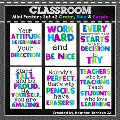 Classroom Mini Posters Set 2 Green, Blue and Purple Classroom Signs, 4th Grade Classroom, Classroom Posters, Kindergarten Classroom, Future Classroom, Classroom Themes, Classroom Organization, Classroom Management, Disney Classroom