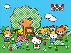 Fotomural Hello Kitty FT xxl 1472, imagen de Hello Kitty junto con sus amigos disfrutando de un soleado y despejado día en el campo. Fotomural con un gran colorido, aunque los colores predominantes son el verde en la hierba y en los árboles junto con el azul del cielo.