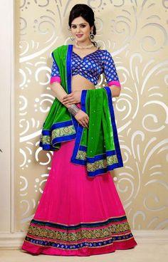 USD 80.17 Pink Faux Georgette Resham Work Party Wear Lehenga Choli 37805