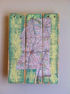 Mississippi Map Decoupage, Pallet Art, Upcycled Recycled Map of Mississippi on Etsy, $45.00