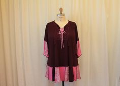 Upcycled Plus size tunic summer blouse bohemian women by MilaLem