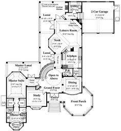 The Sunset Beach house plan has a dramatic foyer that opens to a sweeping circular staircase with 3096 sq. of living area, four bedrooms and 3 baths. Cottage House Plans, Cottage Homes, Custom Home Plans, Custom Homes, Crawl Space Foundation, Built In Entertainment Center, Dome Ceiling, Upstairs Loft, Garage