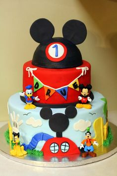 Mickey Clubhouse Cake with Ears Topper (Drue)